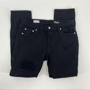GAP Distressed Black Girlfriend Jeans